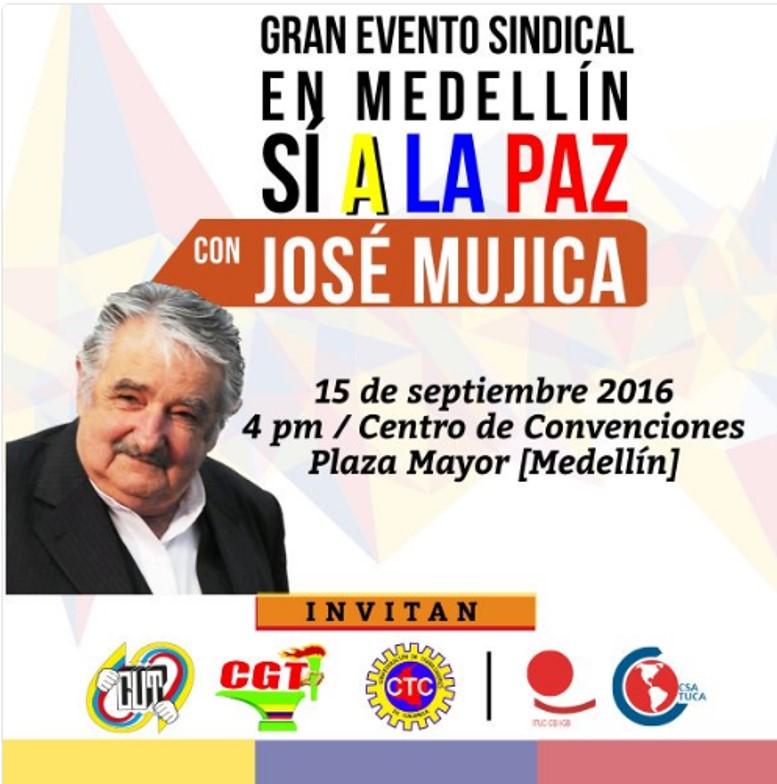 Con Pepe Mujica como invitado especial, sindicalismo internacional ratificará su apoyo a la paz de Colombia