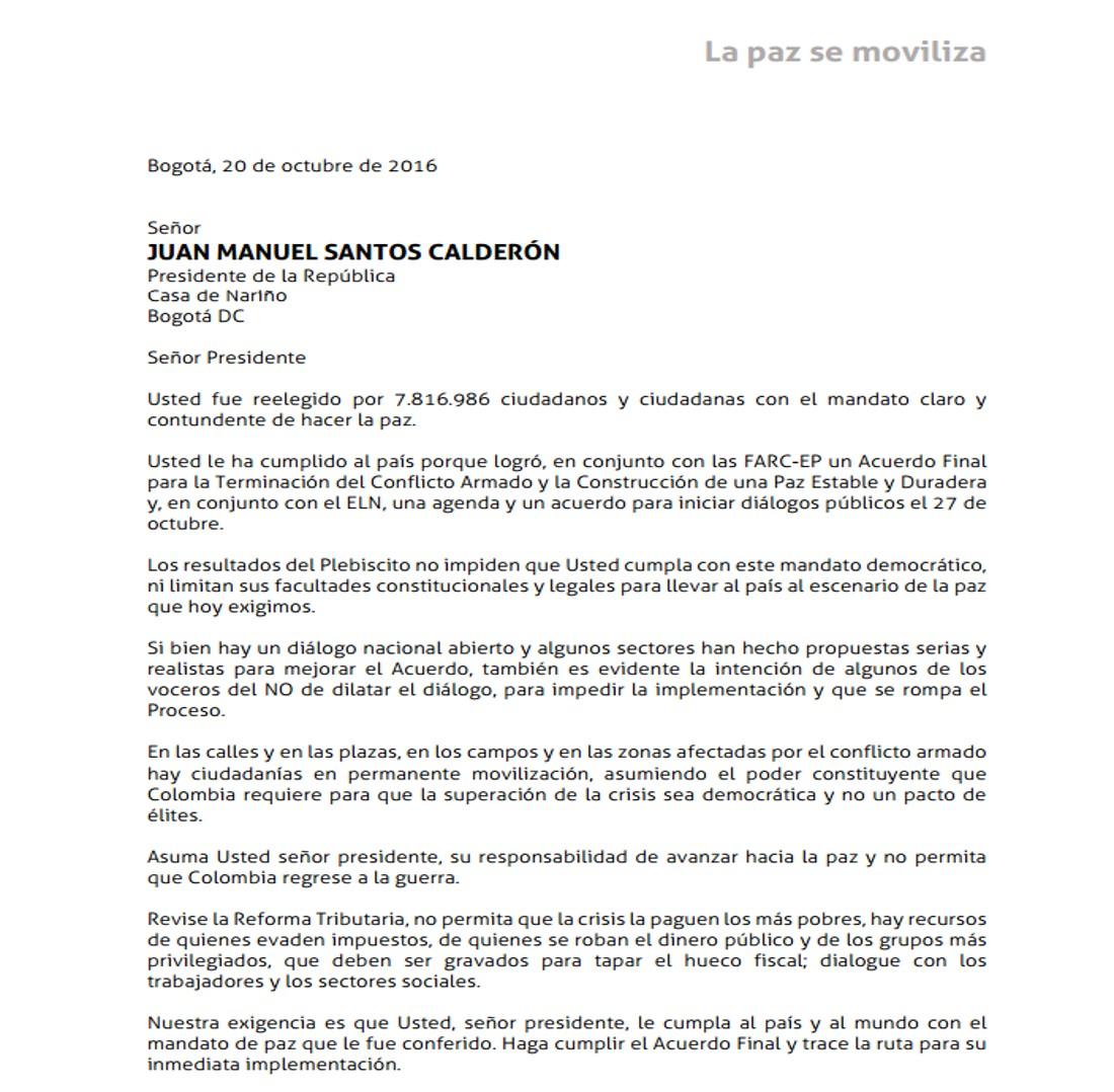Organizaciones sociales y sindicales, presentamos al gobierno comunicación solicitando se cumpla con el mandato de la paz y que se haga cumplir el acuerdo con las Farc
