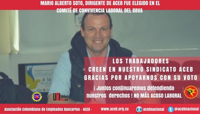 Mario Soto, dirigente de ACEB fue elegido en el Comité de Convivencia Laboral del BBVA
