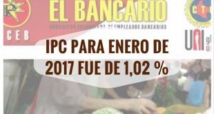 ipc para enero de 2017 fue de 1,02 %