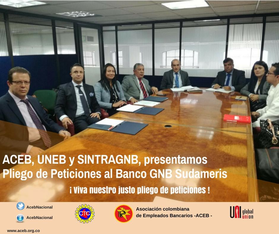 ACEB, UNEB y SINTRAGNB, presentamos Pliego de Peticiones al Banco GNB Sudameris