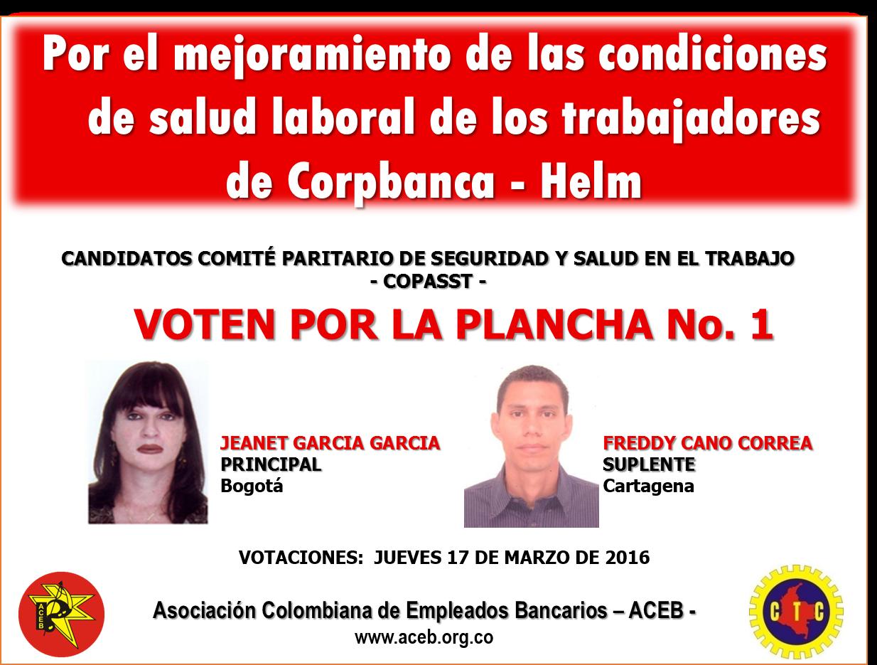Elecciones del Comité Paritario de Seguridad y Salud en el Trabajo -COPASST – del Banco Corpbanca
