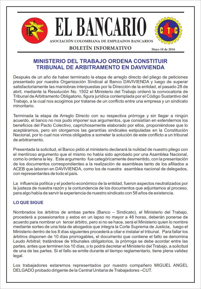 MINISTERIO DEL TRABAJO ORDENA CONSTITUIR TRIBUNAL DE ARBITRAMENTO EN DAVIVIENDA