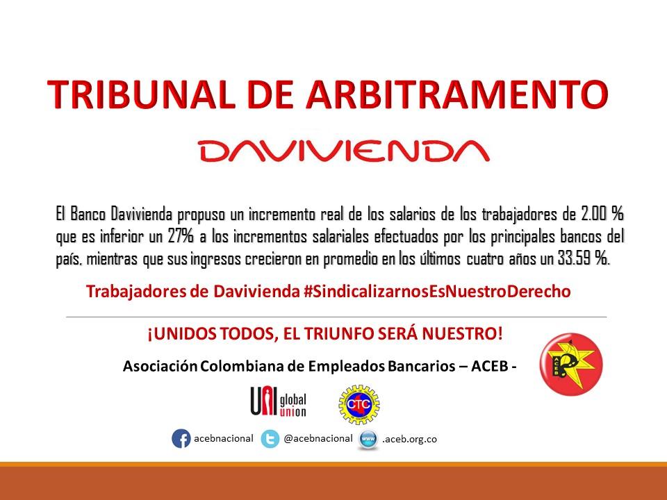 Tribunal de arbitramento en el Banco Davivienda