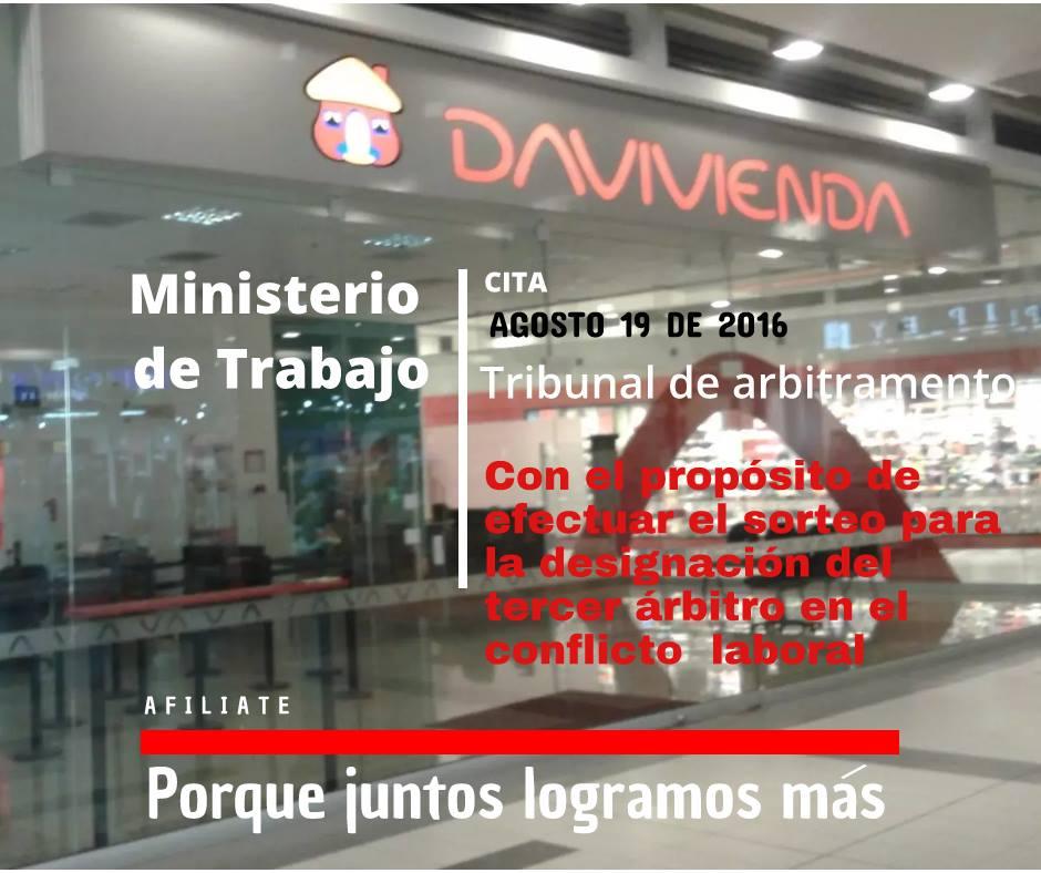 Designación del tercer árbitro en el conflicto colectivo del Banco Davivienda S.A.
