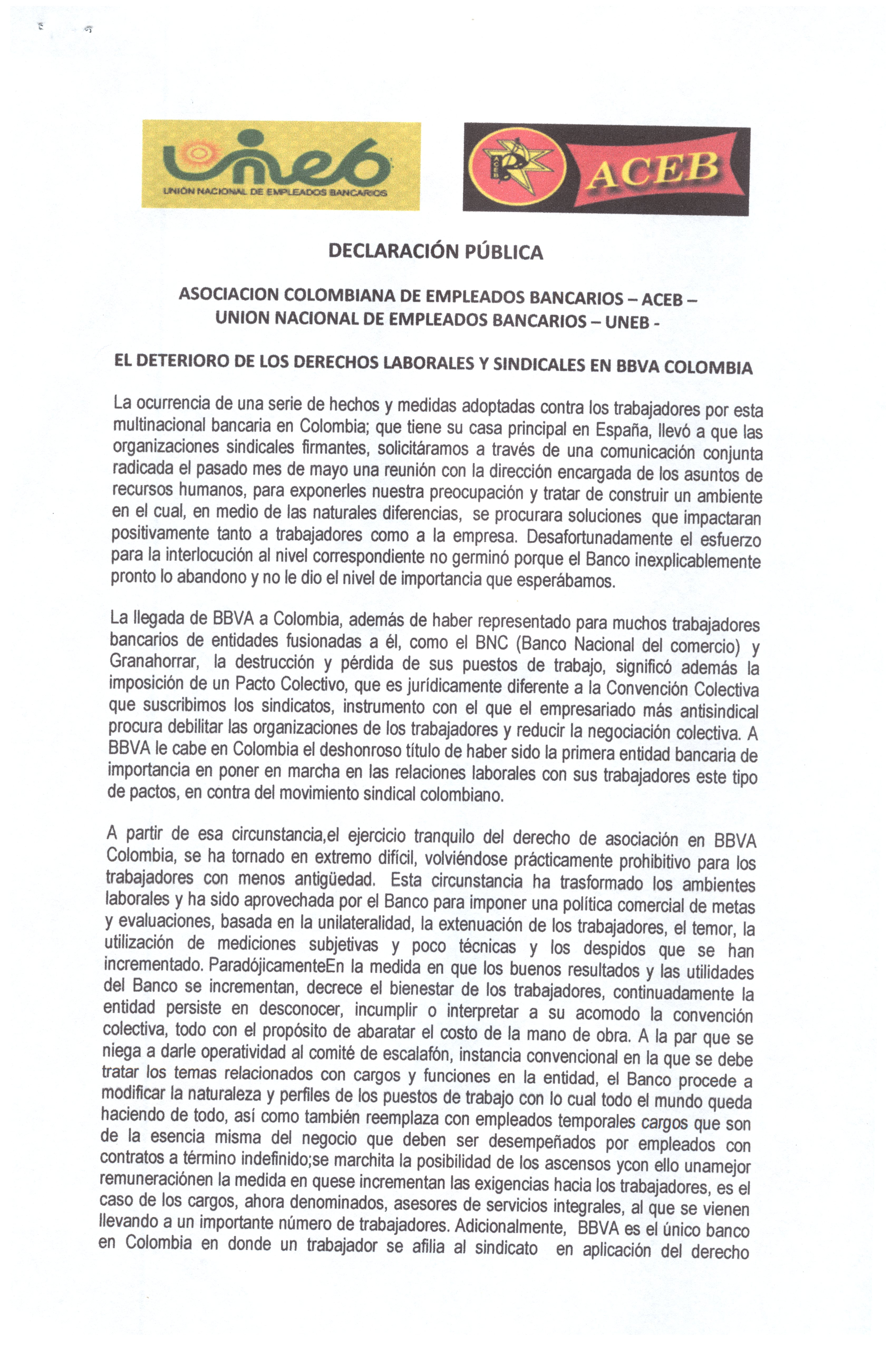 El deterioro de los derechos laborales y sindicales en BBVA Colombia , declaración pública