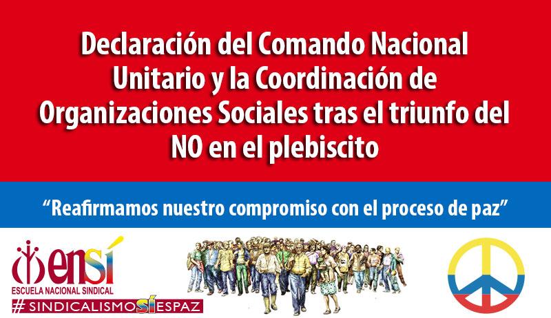 """""""Reafirmamos nuestro compromiso con el proceso de paz y seguiremos con la movilización social y política"""""""