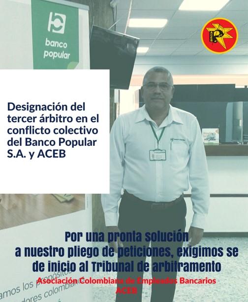 Designación del tercer árbitro en el conflicto colectivo del Banco Popular S.A. y ACEB