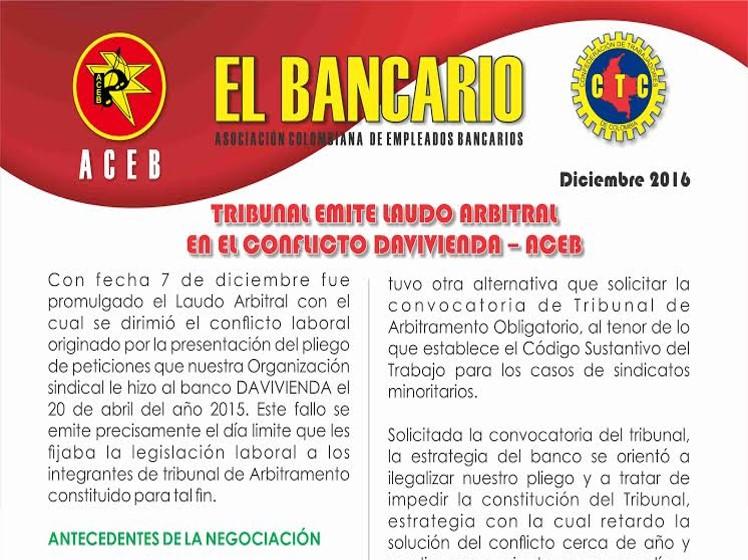 Boletín El Bancario,Laudo Arbitral Davivienda-ACEB