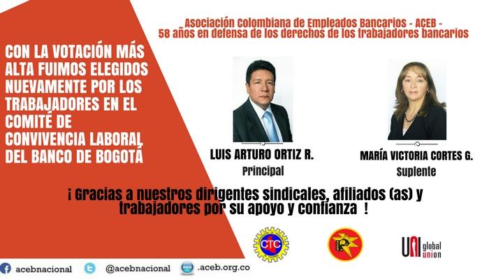 Con la votación más alta, representantes de ACEB quedamos elegidos en el Comité de Convivencia Laboral del Banco de Bogotá