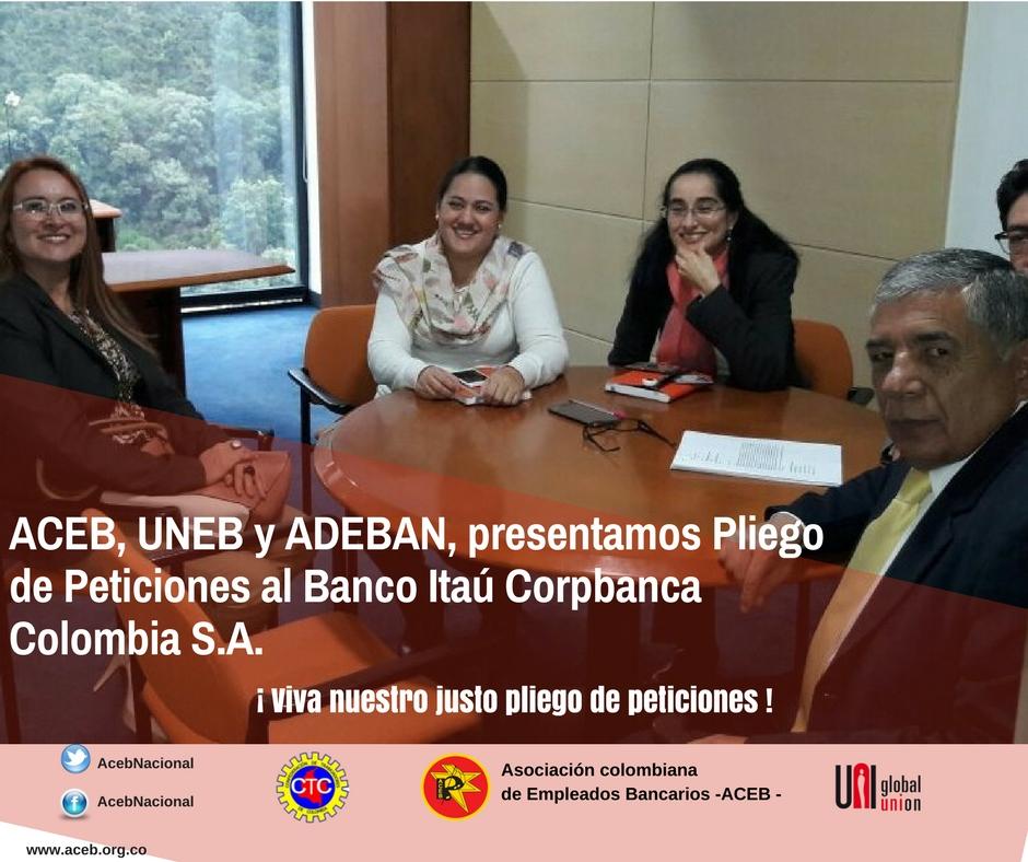 ACEB, UNEB y Adeban, presentamos Pliego de Peticiones al Banco Itaú Corpbanca Colombia S.A.