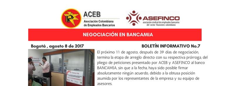 A punto de terminar arreglo directo sin acuerdos por intransigencia de BANCAMIA S.A.