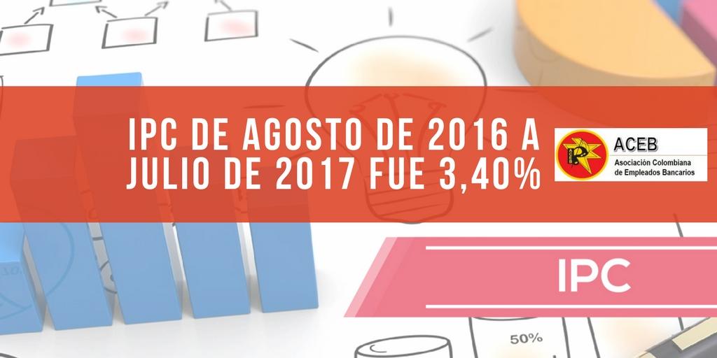 IPC de agosto de 2016 a julio de 2017 fue 3,40%