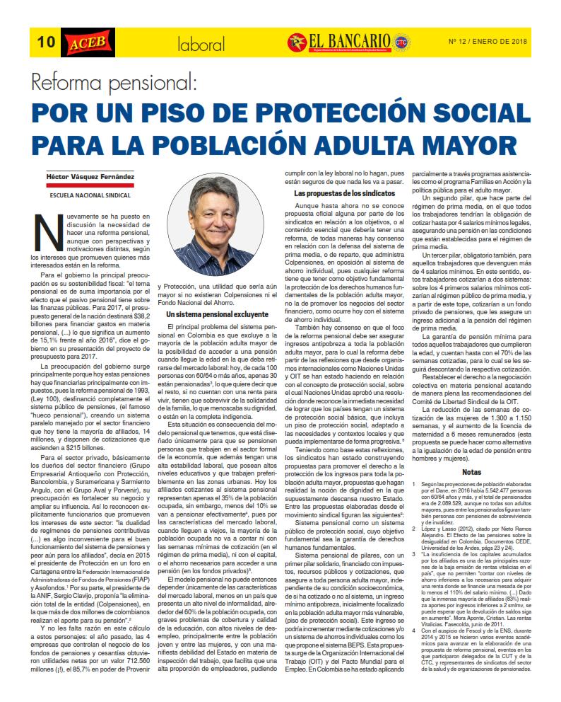 Reforma pensional:Por un piso de protección social para la población adulta mayor
