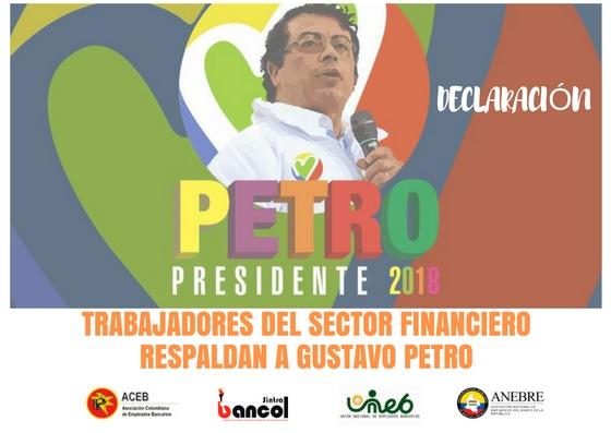 Trabajadores del sector financiero respaldan a Gustavo Petro