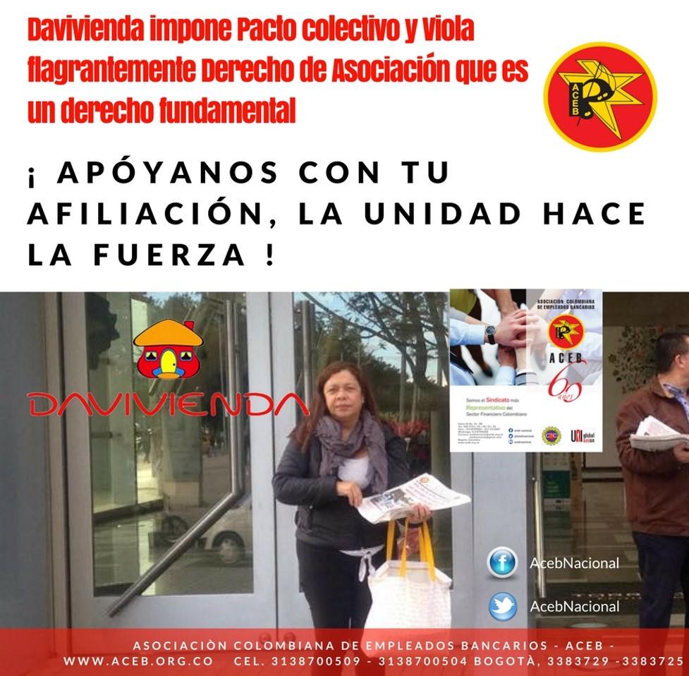 Davivienda impone Pacto colectivo y Viola flagrantemente Derecho de Asociación que es un derecho fundamental