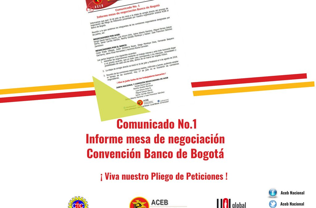 Comunicado No. 1 – Informe mesa de negociación Convención Banco de Bogotá
