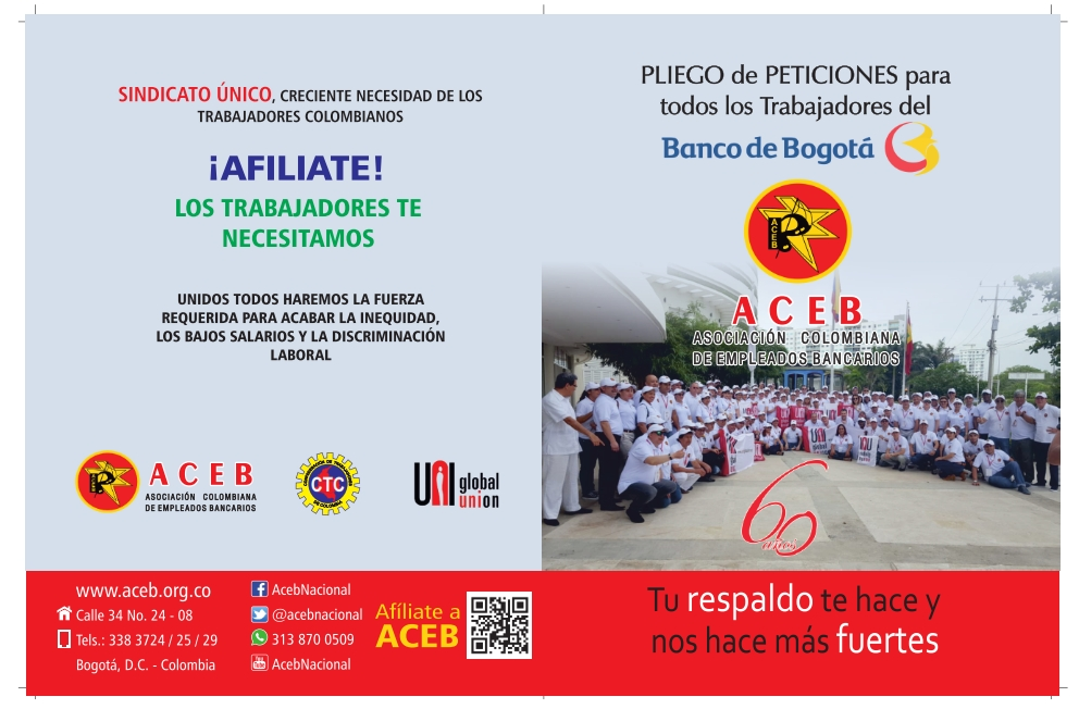 Pliego de Peticiones presentado por ACEB al Banco de Bogotá