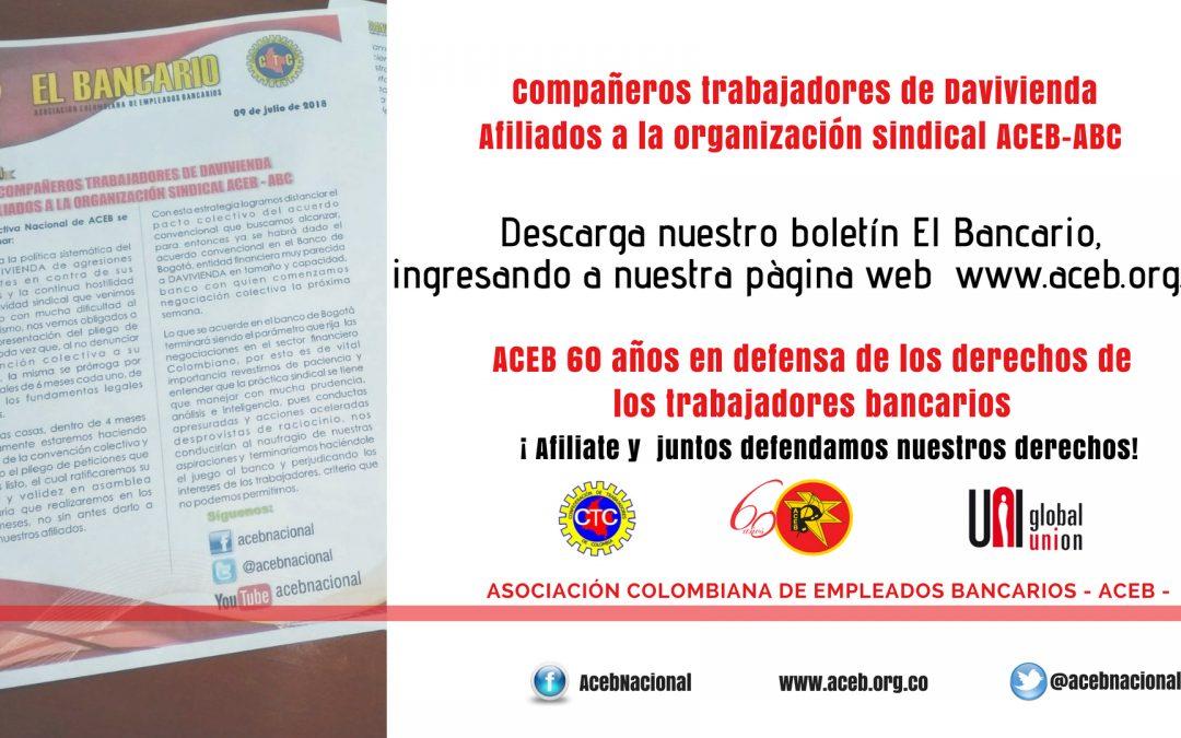 Compañeros trabajadores de Davivienda afiliados a la organización sindical ACEB – ABC