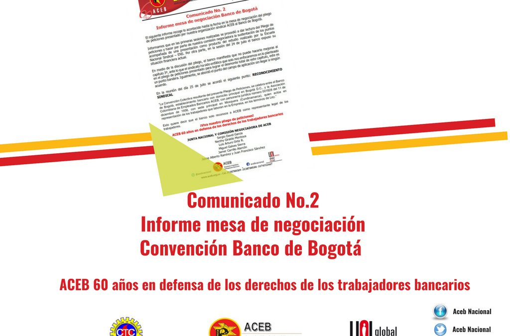 Comunicado No. 2 – Informe mesa de negociación Convención Banco de Bogotá