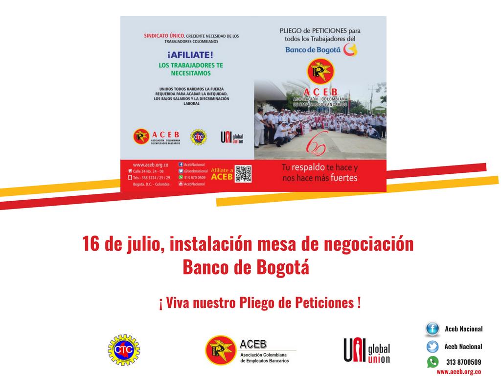 16 de julio, instalación mesa de negociación Banco de Bogotá