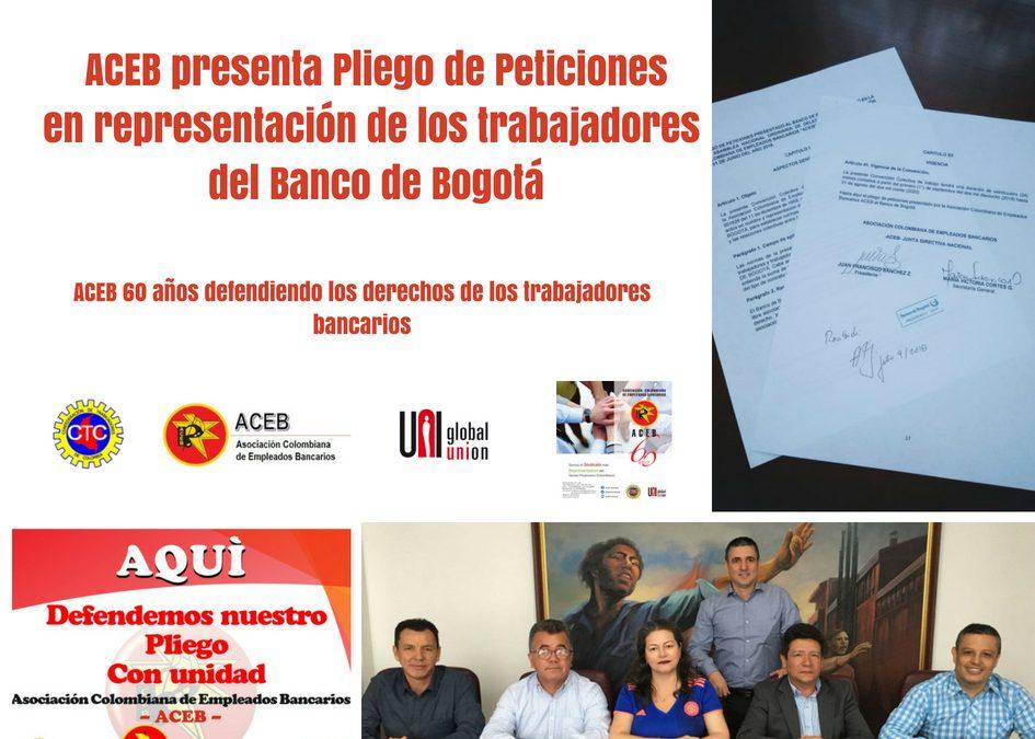 ACEB presenta Pliego de Peticiones en representación de los trabajadores del Banco de Bogotá