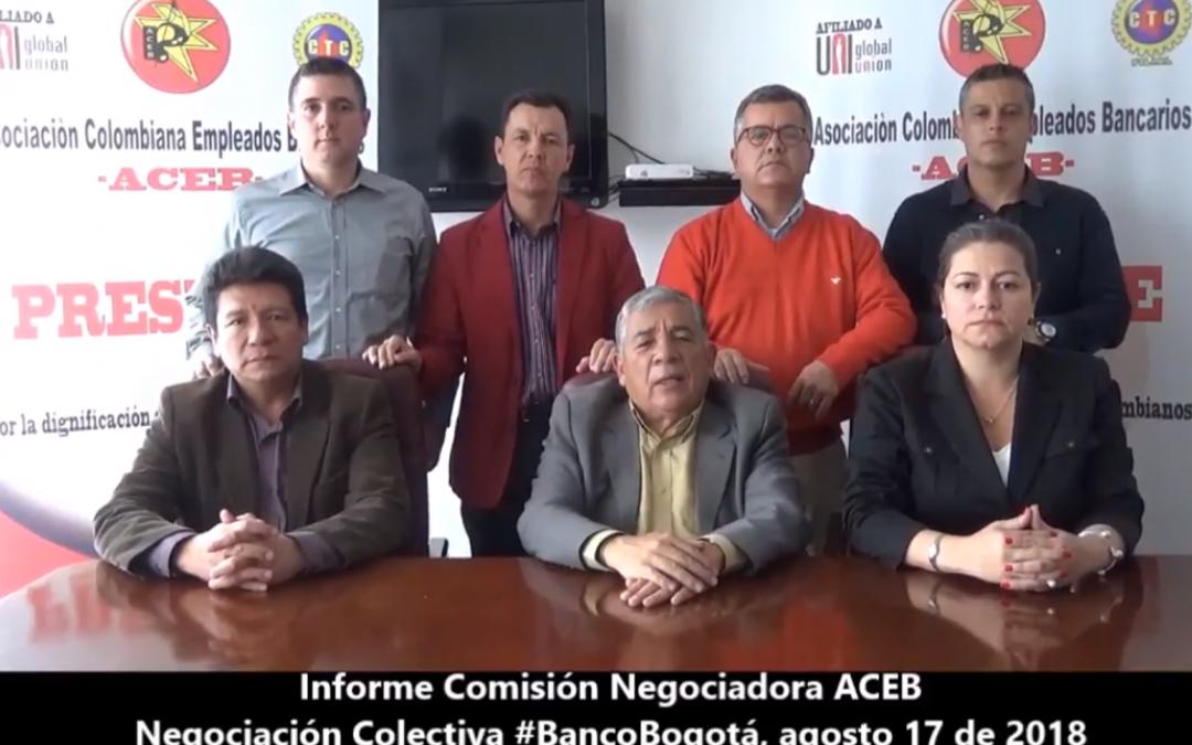 Informe comisión negociadora ACEB, Negociaciòn Colectiva Banco Bogotá
