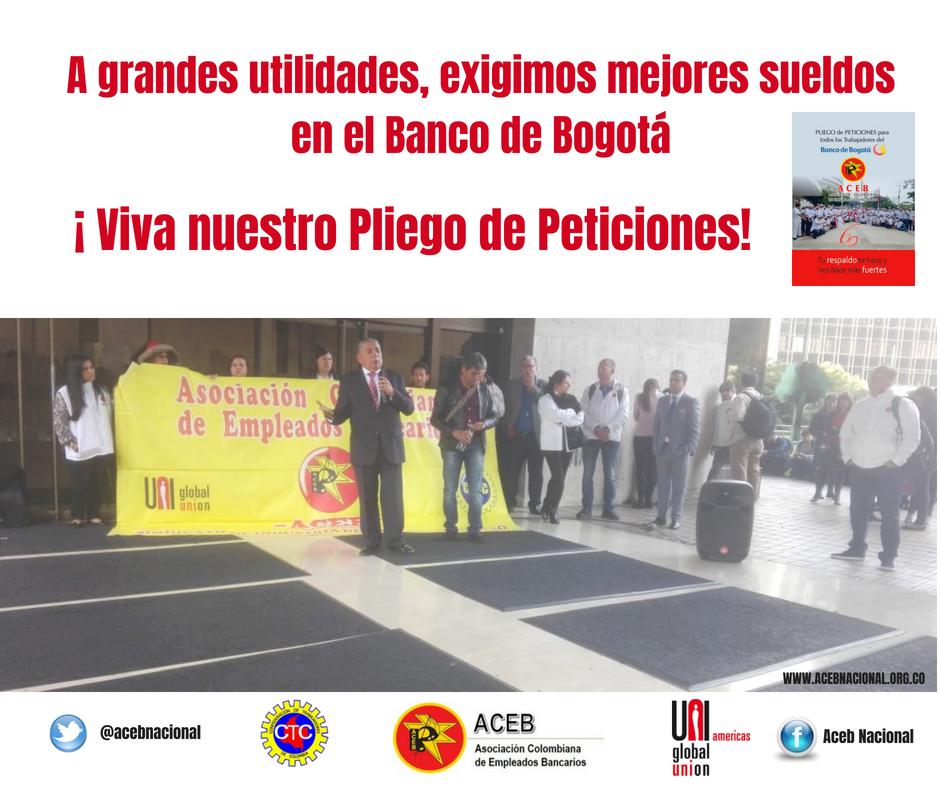 Toma en la Dirección General del Banco de Bogotá, por la defensa de nuestros derechos