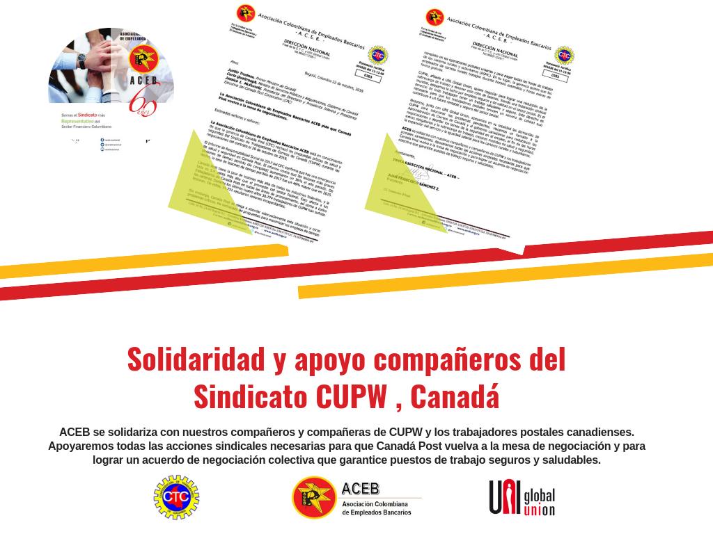 ACEB se solidariza con nuestros compañeros y compañeras de CUPW en Canadá