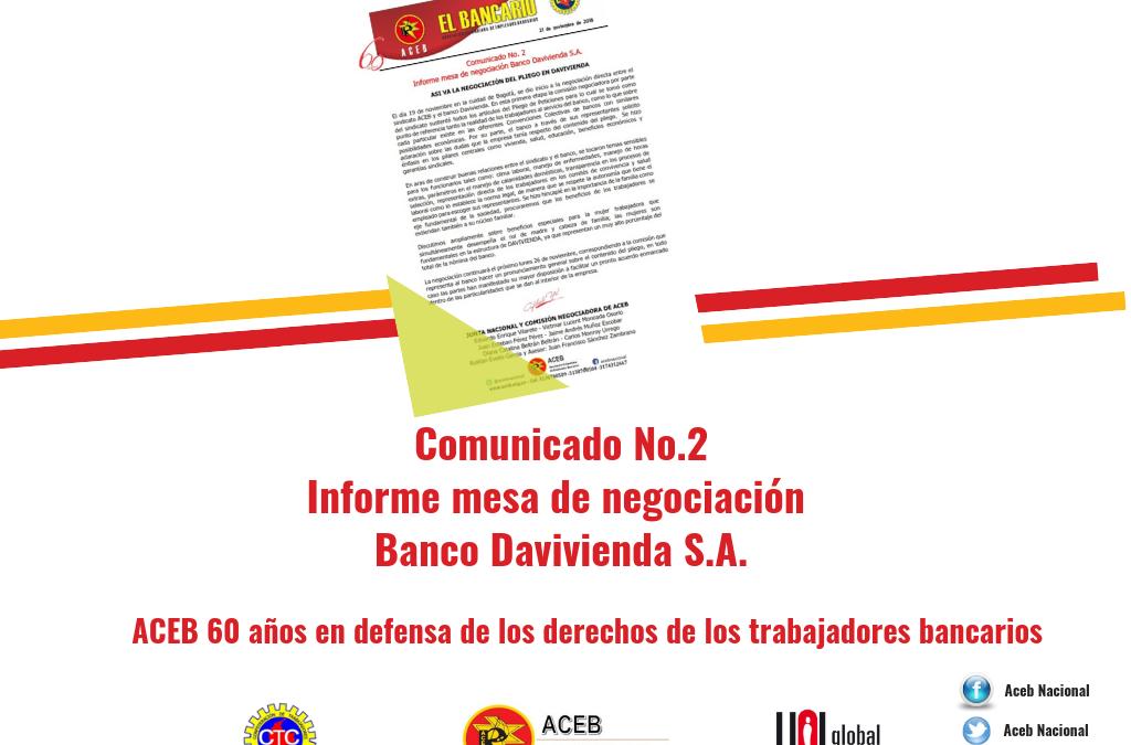 Comunicado No. 2 Negociación Colectiva Davivienda