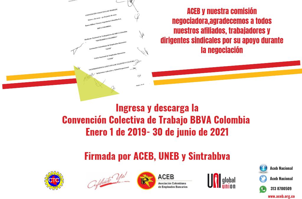 ACEB y sindicatos titulares, logramos la firma de una nueva Convención Colectiva en BBVA Colombia