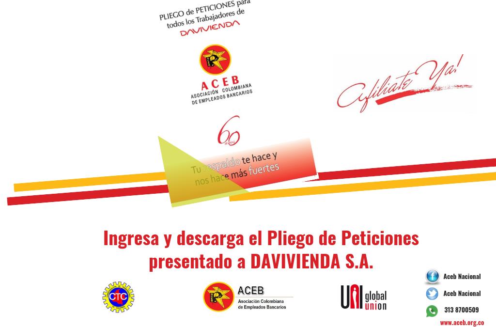 Pliego de Peticiones presentado por ACEB al banco DAVIVIENDA S.A.