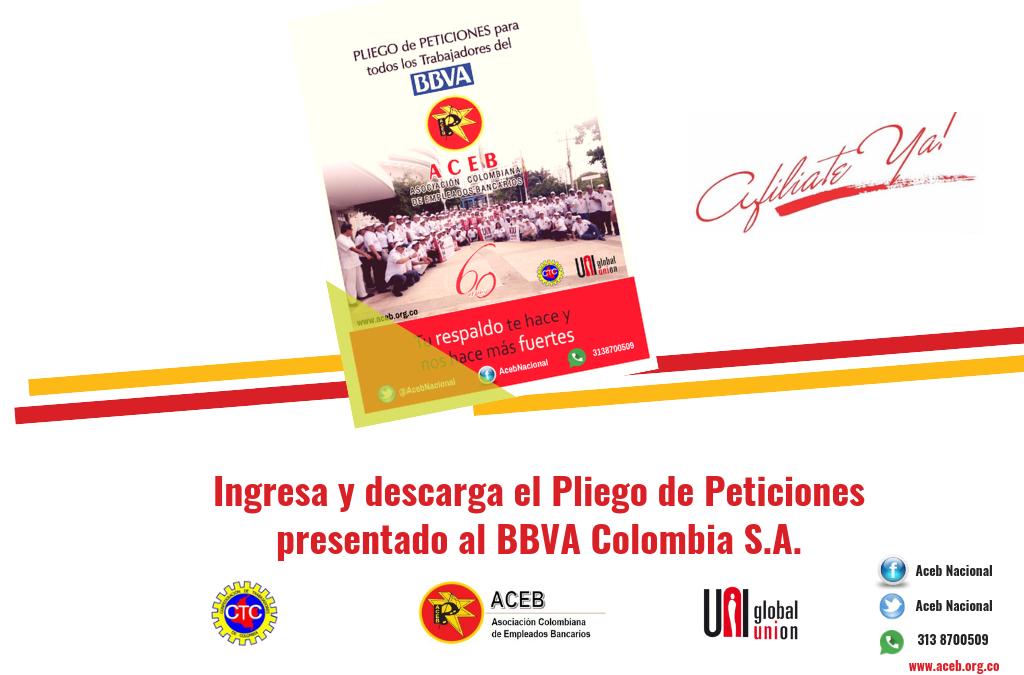 Pliego de Peticiones presentado por ACEB, Uneb y Sintrabbva al BBVA Colombia