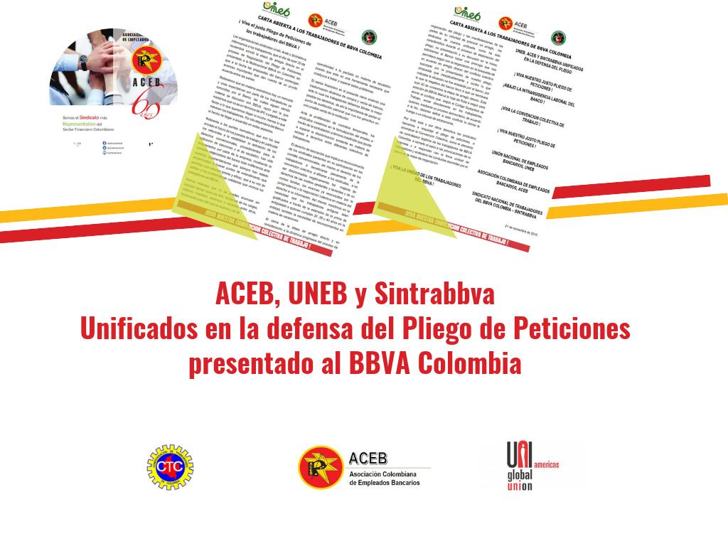 Aceb,Uneb y Sintrabbva unificados en la defensa del Pliego de Peticiones presentado al BBVA Colombia