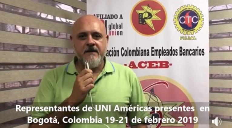 Guillermo Maffeo Director Regional Uni Américas Finanzas en Colombia,estableciendo el Plan de acción, de fortalecimiento y crecimiento de los sindicatos