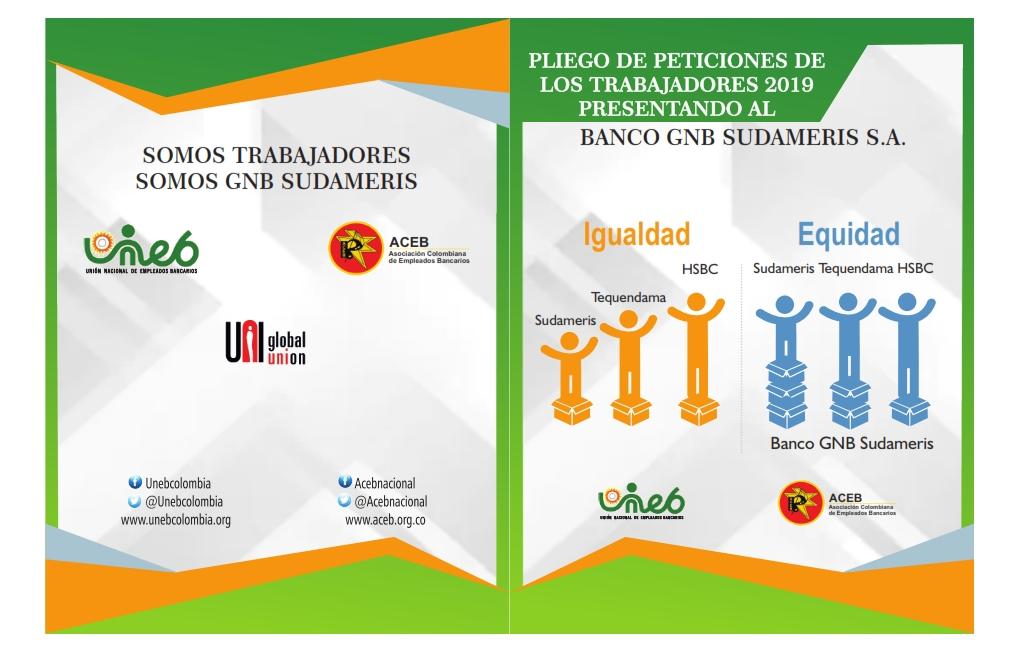 Pliego de Peticiones presentado por ACEB y UNEB , al banco GNB Sudameris