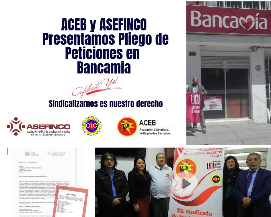 Pliego de Peticiones presentado en Bancamia, por ACEB y Asefinco