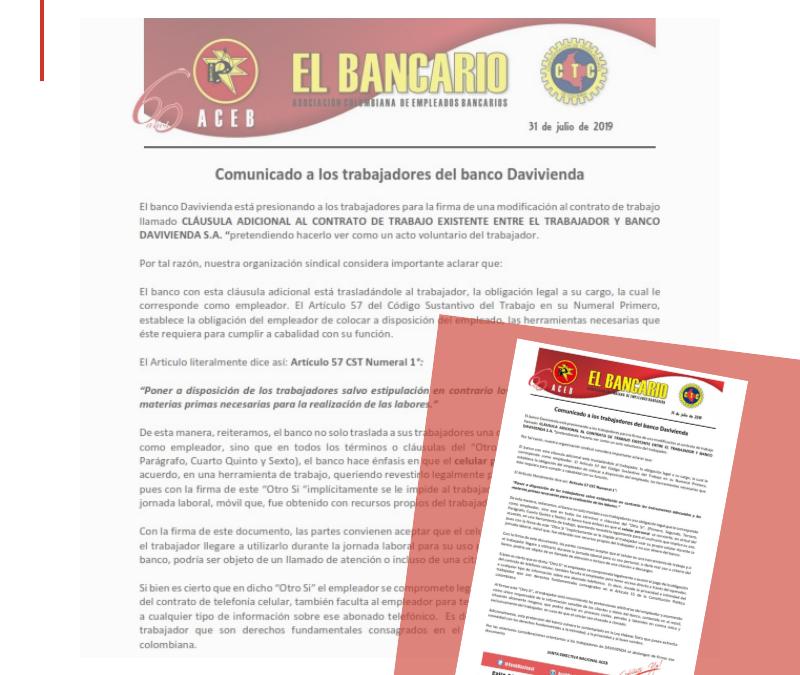 Trabajadores de Davivienda , no firmar la clausula adicional del contrato de trabajo