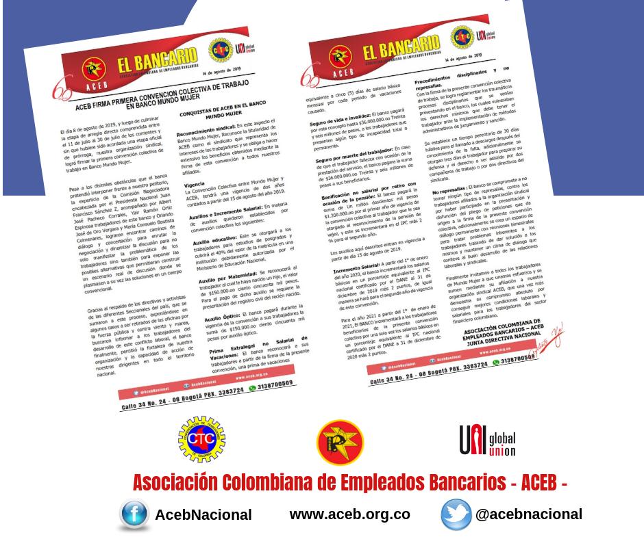 ACEB firma primera Convención Colectiva de Trabajo en Banco Mundo Mujer