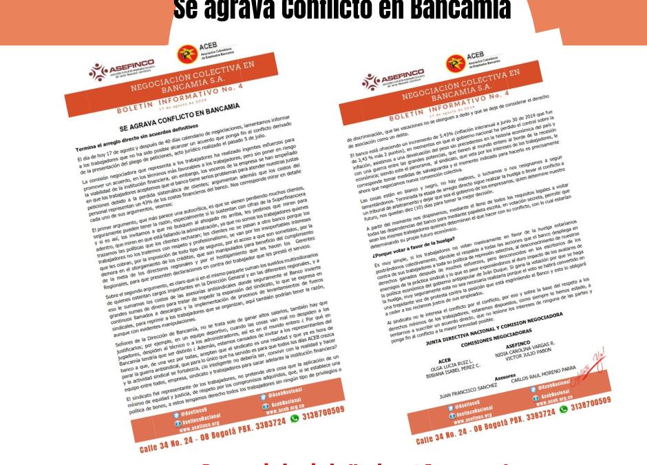 Se agrava conflicto en Bancamia