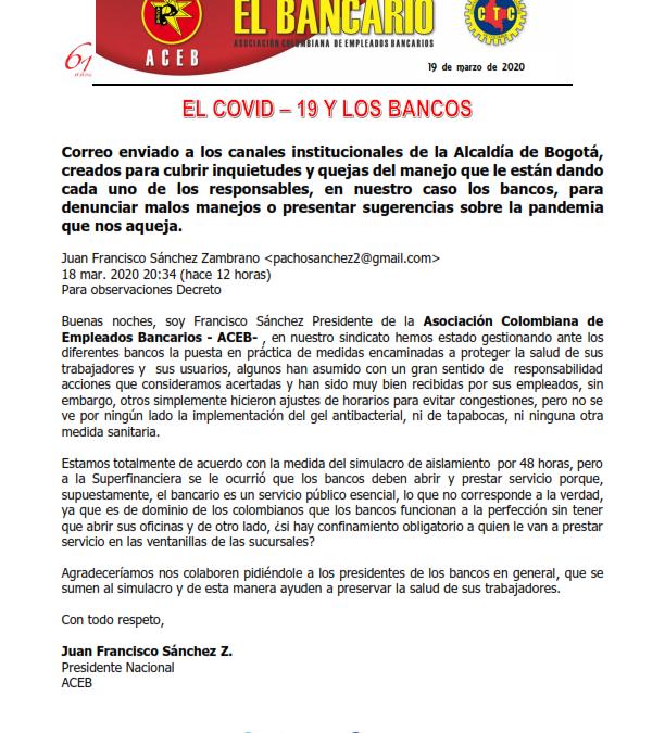 El COVID – 19 y los bancos