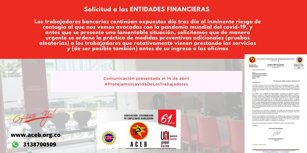 La realización de medidas preventivas adicionales a los trabajadores bancarios es una necesidad
