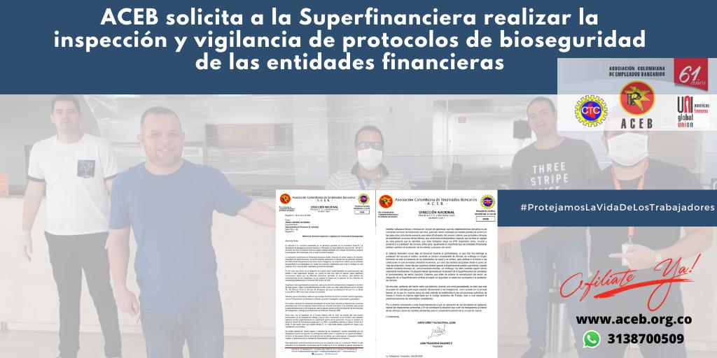 ACEB solicita a la Superfinanciera realizar la inspección y vigilancia de protocolos de bioseguridad de las entidades financieras