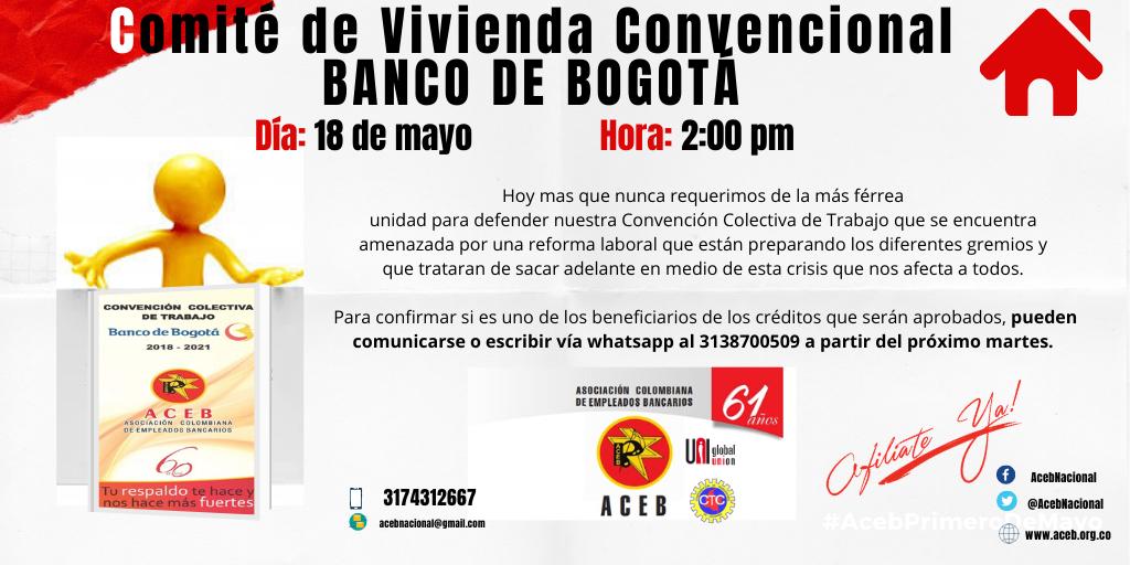 Comité de vivienda convencional Banco de Bogotá, 18 de mayo