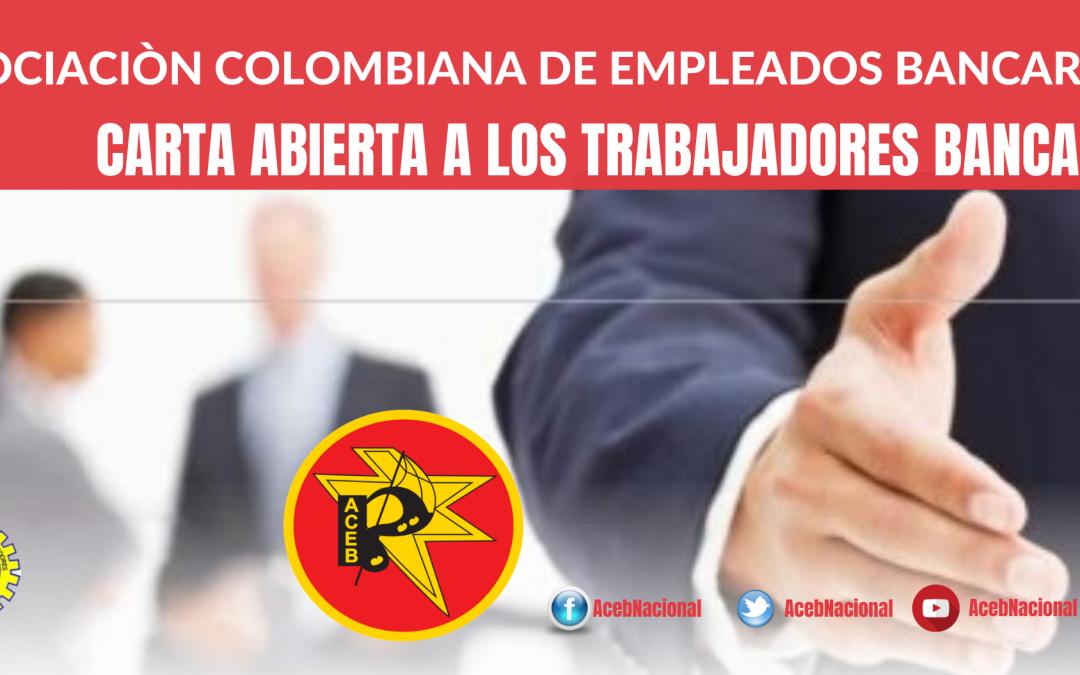 Carta abierta a los trabajadores bancarios colombianos