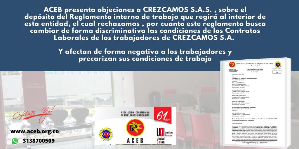ACEB presenta objeciones a CREZCAMOS S.A.S. , sobre el depósito del Reglamento interno de trabajo