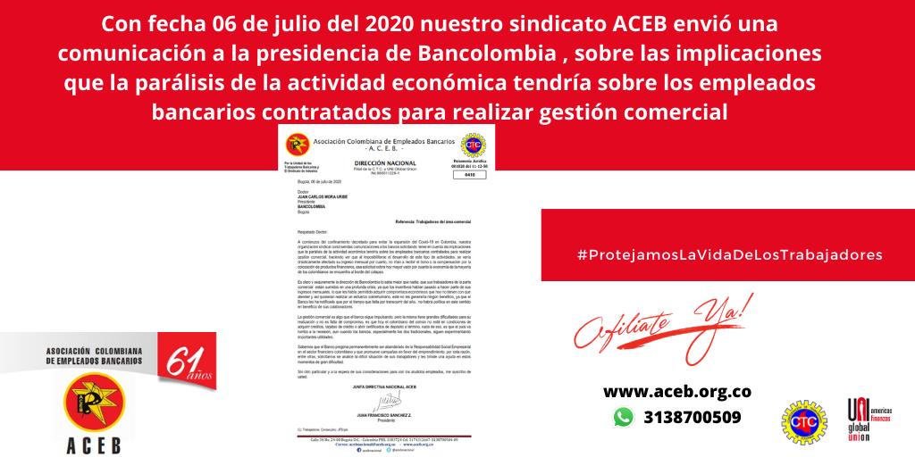 Comunicación a Bancolombia sobre incentivos comerciales