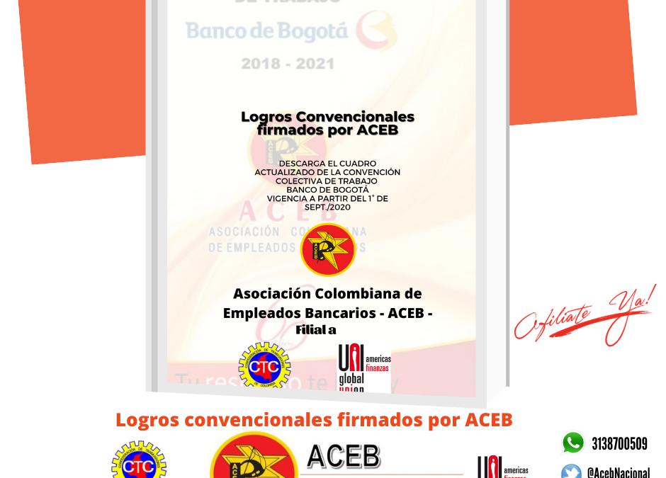 Cuadro Convención Banco de Bogotá , vigencia del 1º de septiembre 2020