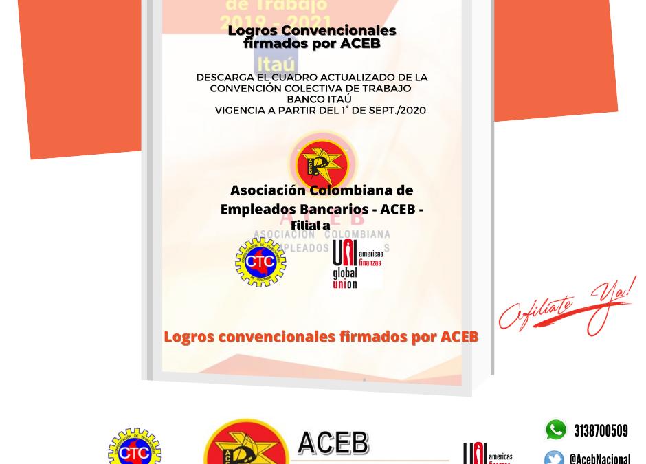 Cuadro Convención Banco Itaú , vigencia a partir del 1º de septiembre 2020