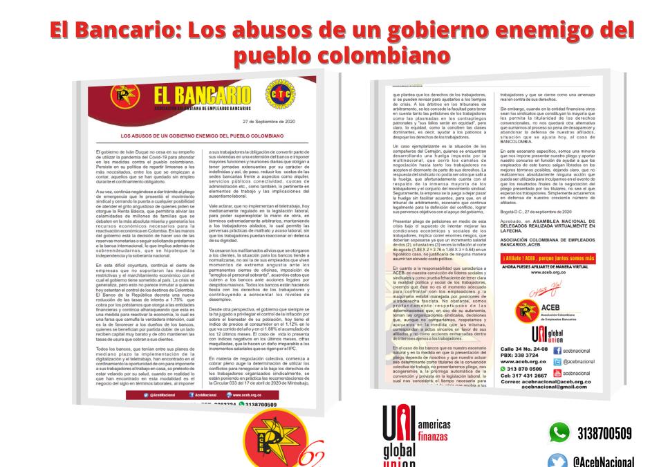El Bancario: Los abusos de un gobierno enemigo del pueblo colombiano